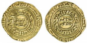 "CRUSADER KINGDOMS: Anonymous, ca. 1200-1260, AV dinar (4.01g), ""Misr"" ND, Ma-5, based on Egyptian dinar of the Fatimid al-Amir, EF-AU."