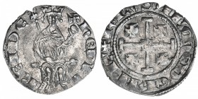 KINGDOM OF CYPRUS: Henry II, 1285-1324, AR gros (4.61g), struck during his second reign, 1310-1324, + HENRI REI DE, king seated facing on curule chair...