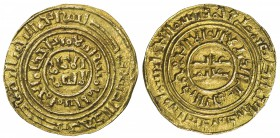 KINGDOM OF JERUSALEM: AV bezant (3.69g), Ma-4, A-730, in the name of the Fatimid ruler al-Âmir (1101-1130), struck circa 1160-1210, Arabic legends dis...