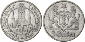 DANZIG: Free City, AR 5 gulden, 1923, KM-147, Marienkirche, tiny reverse rim bump, two-year type, EF.