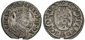 DENMARK: Christian IV, 1588-1648, BI søsling (0.92g), ND [1604], KM-22.2, milled issue, beaded borders, small chip at 6:00, tiny flan flaw behind port...