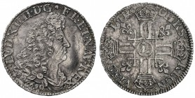 FRANCE: Louis XIV, 1643-1715, AR demi-écu (13.31g), 1690-L, KM-273.9, Gadoury-184Lrf, Bayonne Mint, some adjustment marks in centers (as usual), nice ...