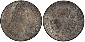 FRANCE: Louis XIV, 1643-1715, AR ecu, 1709-A, KM-386.1, Dav-1324, Gad-229, armored bust right // three Couronnes (crowns) type, fleur-de-lis in angles...