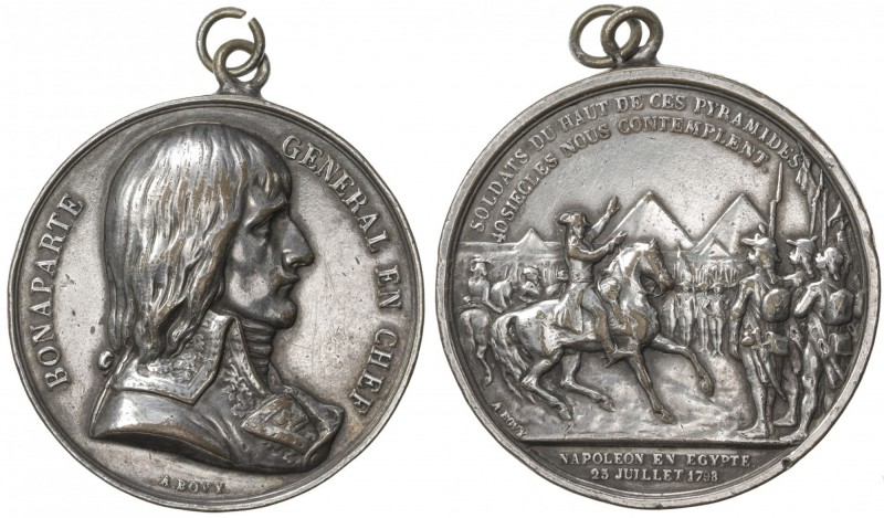 FRANCE: silvered AE medal (38.94g), 1798, Ionnikoff-2, 41mm, Napoleon Battle of ...