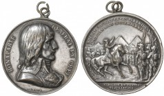 FRANCE: silvered AE medal (38.94g), 1798, Ionnikoff-2, 41mm, Napoleon Battle of the Pyramids medal by Bovy, Napoleon bust right surrounded by BONAPART...