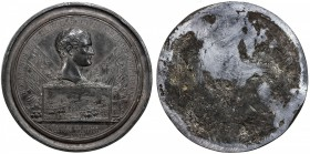 FRANCE: Napoleon, as First Consul, 1799-1804, pewter medal, An X (1802), 68mm, Battle of Marengo uniface die trial by F. Andrieu, BONAPARTE PREMIER CO...