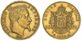 FRANCE: Napoleon III, 1852-1870, AV 50 francs (16.08g), Strasbourg, 1866-BB, KM-804.2, AGW 0.4667 oz, choice VF.