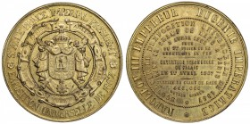 FRANCE: gilt AE medal, 1867, 50mm, Medal for the 1867 World's Fair by Maurice Valentin Borrel, S.A.I. LE PRINCE IMPERIAL PRESIDENT / EXPOSITION UNIVER...