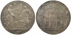 FRANCE: Third Republic, medallic AR 5 francs, 1900, MdP III/298B, 37mm, Universal Exhibition of Paris, Paris mint Foundrymen Medal by Henri Auguste Ju...