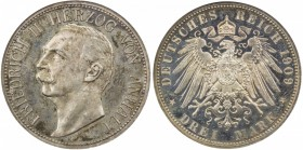 ANHALT-DESSAU: Friedrich II, 1904-1918, AR 3 mark, 1909-A, KM-29, NGC graded Proof 63.