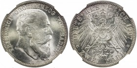 BADEN: Friedrich I, gross herzog, 1856-1907, AR 2 mark, 1907-G, KM-278, NGC graded MS65.