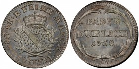 BADEN-DURLACH: Karl Friedrich, 1738-1803, AR 2½ kreuzer, 1786-W, KM-121, magnificant strike, beautiful steel-gray toning on both sides, rare one-year ...