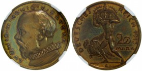 BAVARIA: Ludwig III, 1913-1918, AE 20 mark, 1913, Schaaf-202/G1, bronze pattern by Karl Goetz, NGC graded PF64 BR.