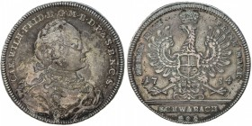 BRANDENBURG-ANSBACH: Karl Wilhelm Friedrich, 1729-1757, AR thaler, 1754, KM-226, Dav-1985, initials ISG K-E, light old cleaning, now retoned, EF.