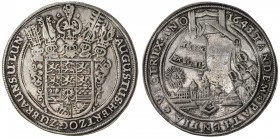 BRUNSWICK-WOLFENBÜTTEL: August II, 1634-1666, AR thaler (28.92g), 1643, KM-429, Dav-6375B, 7th Bell Thaler, cleaned long ago, has retoned nicely, full...