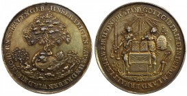 "HAMBURG: Free and Hanseatic City, AR medal (30.41g), 1651, Wiecek-138, Gaedechens-1564, 45mm gilt silver ""Gluckhennenmedaille"" for the Peace of Westph..."