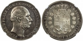 MECKLENBURG-SCHWERIN: Friedrich Franz II, 1842-1883, AR thaler, 1867-A, KM-311, semi-prooflike fields, light tone, NGC graded MS62.