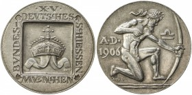 MUNICH: AR medal (29.96g), 1906, Peltzer-1489, Steilmann XV / 2, 38mm silver medal for the 15th German Federal Shooting Festival by Roemer, crown with...