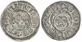 POMERANIA: Philipp Julius, 1592-1625, AR 1/24 thaler (1.92g), 1611, KM-7, PHILIP(US). IULI(US). H. Z. S. P(O), shield of four-fold arms in circle // S...