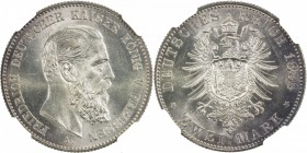 PRUSSIA: Friedrich III, 1888, AR 2 mark, 1888-A, KM-511, one-year type, NGC graded MS65.