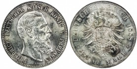 PRUSSIA: Friedrich III, 1888, AR 5 mark, 1888-A, KM-512, one-year type, NGC graded MS63.