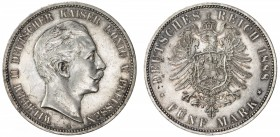 PRUSSIA: Wilhelm II, 1888-1918, AR 5 mark, 1888-A, KM-513, J-101, light surface hairlines, AU.