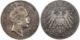 PRUSSIA: Wilhelm II, 1888-1918, AR 5 mark, 1908-A, KM-523, J-104, scarce date in proof, NGC graded MS62, S.