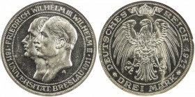 PRUSSIA: Wilhelm II, 1888-1918, AR 3 mark, 1911-A, KM-531, Breslau University 1811-1911, NGC graded Proof 63.
