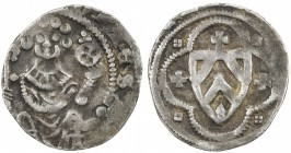 RAVENSBURG: Otto III, 1249-1306, AR pfennig (1.17g), ND, Stange-20, Bielefeld Mint, enthroned bishop facing with crosier in right hand and imperial or...