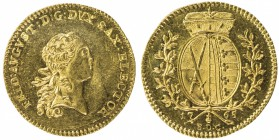 SAXONY: Frederick Augustus III, 1763-1806, AV ducat (3.47g), 1765, KM-979, Fr-2871, initials EDC, light hairlines, prooflike, an attractive example, A...