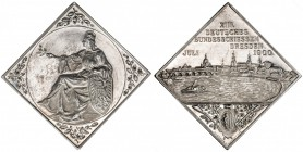 SAXONY: AR klippe medal, 1900, Peltzer-1021, 34mm, silver medal for the 13th German Federal Shooting Festival in Dresden by Glaser & Sohn Dresden, Ger...