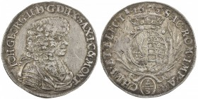 SAXE-ALBERTINE LINE: Johann Ernst, 1662-1683, AR 2/3 thaler (15.51g), 1675, KM-549, Dav-805, initials CR, fairly well struck, attractive, original ton...