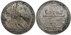 SAXE-SAALFELD: Johann Ernst VIII, 1680-1729, AR thaler, 1729, KM-91. Dav-2749, one-year type, deep original toning, PCGS graded MS62.