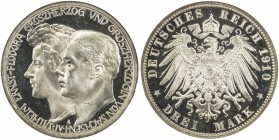 SAXE-WEIMAR-EISENACH: Wilhelm Ernst, 1901-1918, AR 3 mark, 1910-A, KM-176, commemorating Wilhelm Ernst's second marriage to Feodora, NGC graded PF64 U...