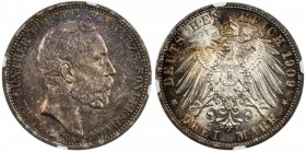 SCHWARZBURG-SONDERSHAUSEN: Günther Victor, 1909-1918, AR 3 mark, 1909-A, KM-154, J-170, Death of King Karl Günther, lovely toned example! NGC graded M...