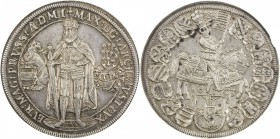 TEUTONIC ORDER: Maximilian I, of Austria, 1590-1618, AR thaler, Hall, 1603, KM-3, Dav-5848, armored & mantled figure of Maximilian holding sword // mo...