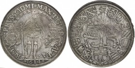TEUTONIC ORDER: Maximilian I, of Austria, 1590-1618, AR double thaler, Hall, 1614, KM-30, Dav-A5854, armored & mantled figure of Maximilian holding sw...