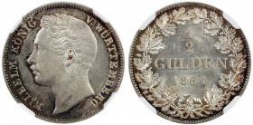 WÜRTTEMBERG: Wilhelm I, 1816-1864, AR ½ gulden, 1864, KM-604, light rainbow toning with otherwise bright lustrous surfaces, NGC graded MS63.