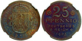 GERMANY: Kaiserreich, AE 25 pfennig, 1908, Schaaf-18/G5, pattern in copper by Karl Goetz, NGC graded PF63 RB.