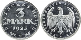 GERMANY: Weimar Republic, 3 mark, 1923-E, KM-29, aluminum issue, NGC graded PF64 CAM.