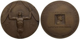"GERMANY: Weimar Republic, AE medal, 1928, Kaiser-490, 60mm, World Flight of the Graf Zeppelin ""LZ 127"", bronze medal by Mayer & Wilhelm, Stuttgart, se..."