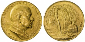 GERMANY: AV medal (4.84g), 1929, Kienast-432, Slg. Böttcher 6135, 23mm .985 fine gold medal for the Death of Gustav Stresemann, German Foreign Ministe...