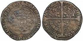 ENGLAND: Henry VI, 1422-1461, AR groat, Calais, S-1836, crowned bust facing in tressure // long cross with three pellets in each angle, PCGS graded EF...