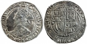 ENGLAND: Charles I, 1625-1649, AR shilling, S-2799, triangle mintmark, struck 1639-40, sixth crowned bust left, value behind // square-topped shield o...