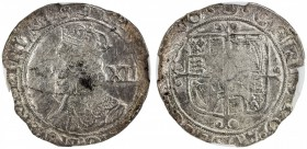 ENGLAND: Charles I, 1625-1649, AR shilling, S-2799, mintmark triangle, struck 1639-40, sixth crowned bust left, value behind // square-topped shield o...