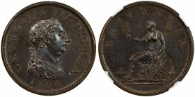 GREAT BRITAIN: George III, 1760-1820, AE penny, Soho mint, 1806, KM-663, NGC graded MS64 BR.