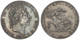 GREAT BRITAIN: George III, 1760-1820, AR crown, 1818, S-4787, KM-675, regnal year LVIII on edge, boldly struck with some reflectivity in the fields, a...
