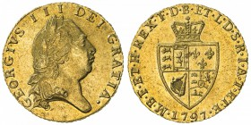 GREAT BRITAIN: George III, 1760-1820, AV ½ guinea, 1797, S-3735, spade shield, AU.