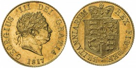 GREAT BRITAIN: George III, 1760-1820, AV ½ sovereign, 1817, S-3786, choice AU.