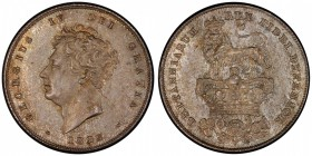 GREAT BRITAIN: George IV, 1820-1830, AR shilling, 1825, S-3812, KM-694, bare head, lovely old toning, PCGS graded MS63.